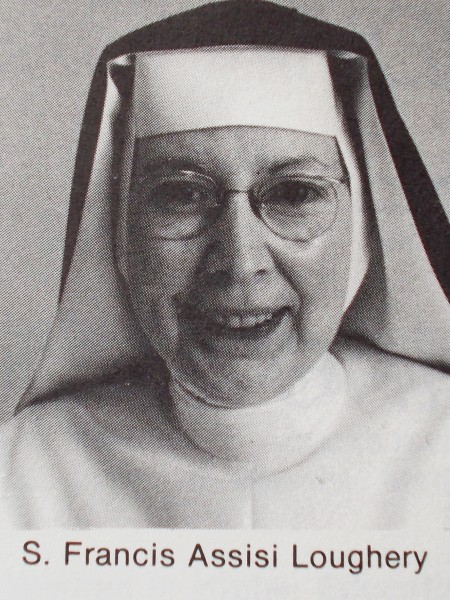 "Sister Francis Assisi Loughery, picture accompanying her Spring, 1981 ExCHANGE magazine article titled ""Examining Our Place in the Schools"""