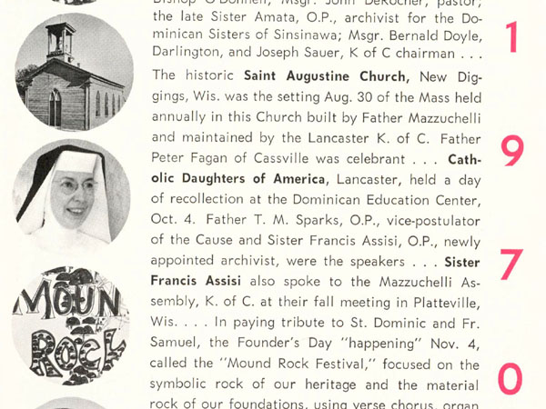 Sister Francis Assisi in the Mazzuchelli Guild Bulletin, Winter 1970-1971.