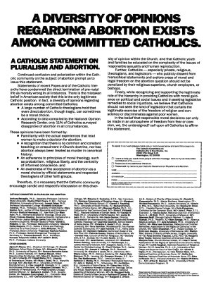 October 7, 1984 New York Times ad signed by Sister Donna Quin and 23 other religious sisters, together with many lay people.