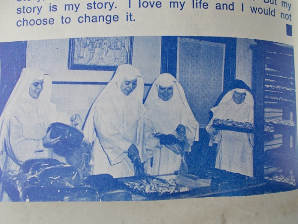 "Novices baking ""Mound Bread"", a probably 1950s era photo that appeared in the Winter, 1995 edition of the Sinsinawa ExCHANGE congregation magazine"