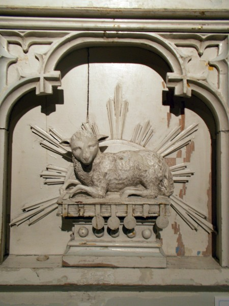 The lamb from the center of the Saint Clara Convent Chapel altar, which for some reason they dismantled and this is now in their museum.