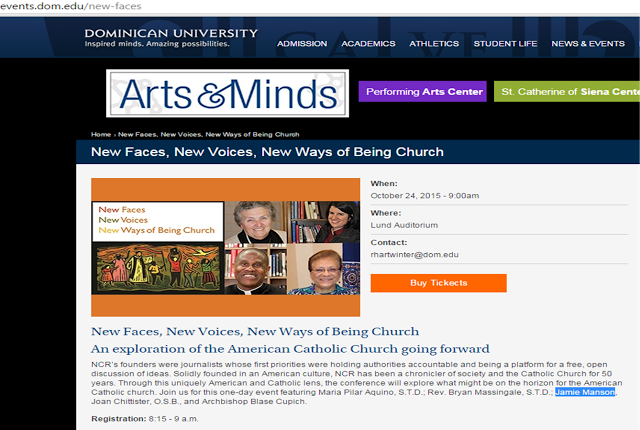 The Dominican University website USED TO say Archbishop Cupich was involved with the conference and expected to celebrate Mass at its conclusion.